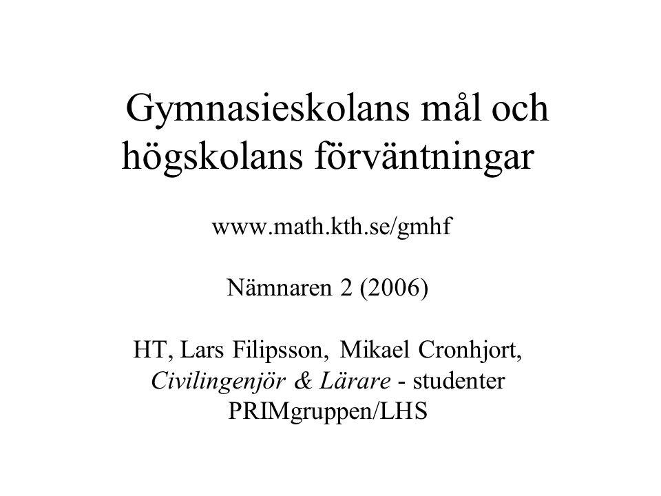 Gymnasieskolans mål och högskolans förväntningar www.math.kth.se/gmhf Nämnaren 2 (2006) HT, Lars Filipsson, Mikael Cronhjort, Civilingenjör & Lärare - studenter PRIMgruppen/LHS
