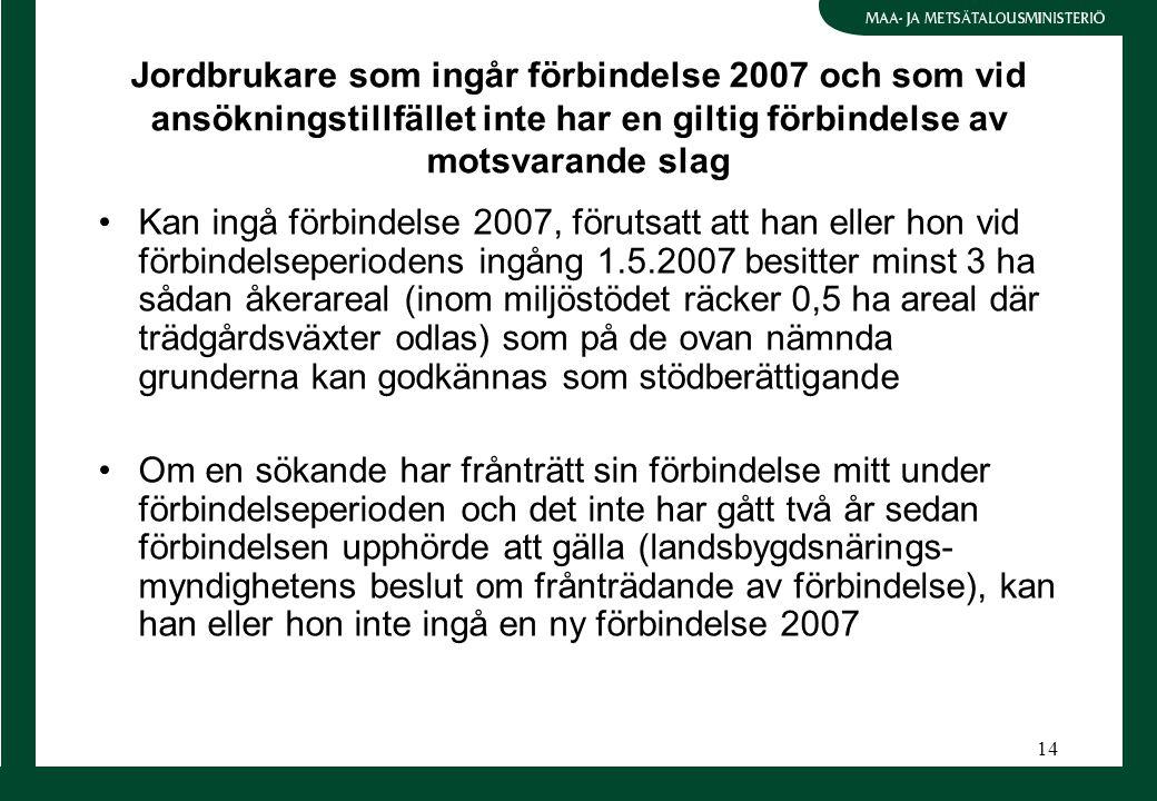 14 Jordbrukare som ingår förbindelse 2007 och som vid ansökningstillfället inte har en giltig förbindelse av motsvarande slag Kan ingå förbindelse 200