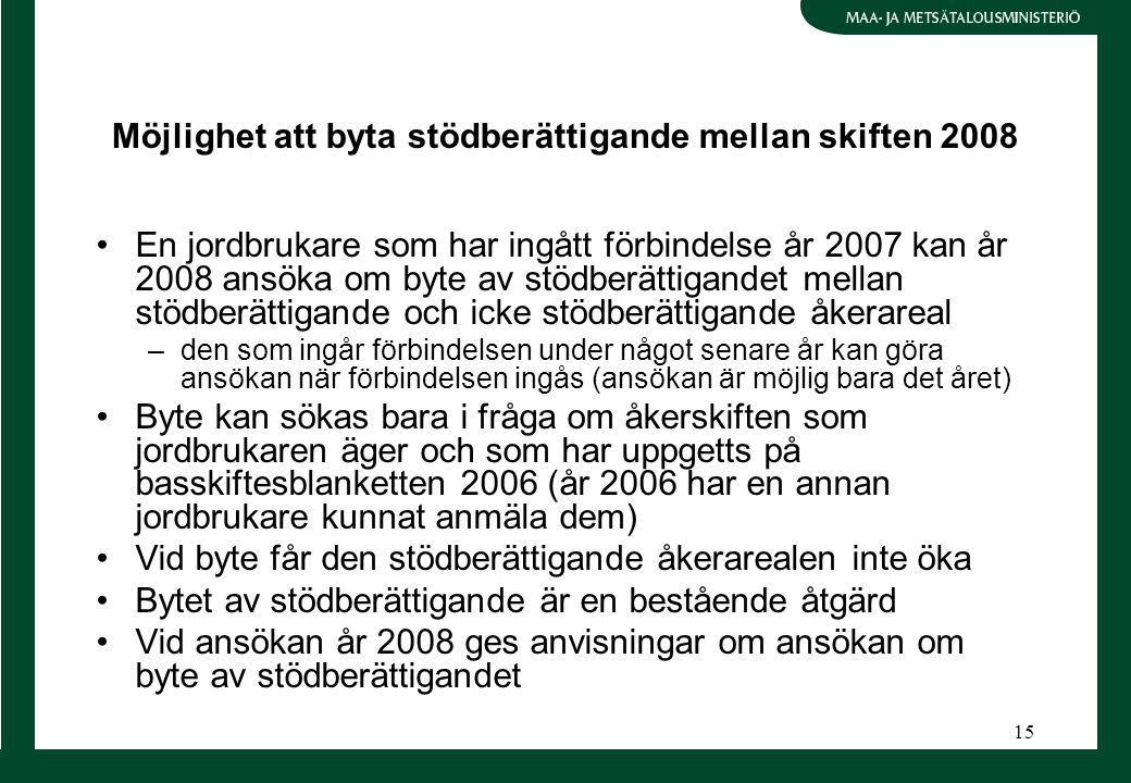 15 Möjlighet att byta stödberättigande mellan skiften 2008 En jordbrukare som har ingått förbindelse år 2007 kan år 2008 ansöka om byte av stödberätti