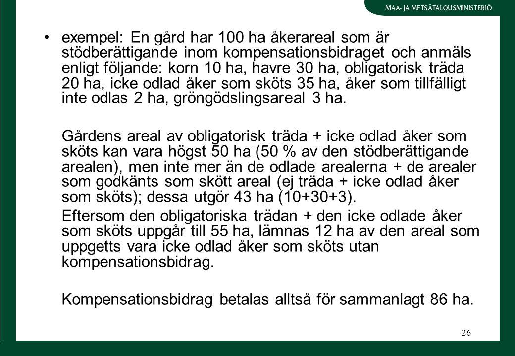 26 exempel: En gård har 100 ha åkerareal som är stödberättigande inom kompensationsbidraget och anmäls enligt följande: korn 10 ha, havre 30 ha, obligatorisk träda 20 ha, icke odlad åker som sköts 35 ha, åker som tillfälligt inte odlas 2 ha, gröngödslingsareal 3 ha.