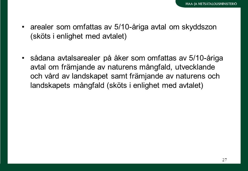 27 arealer som omfattas av 5/10-åriga avtal om skyddszon (sköts i enlighet med avtalet) sådana avtalsarealer på åker som omfattas av 5/10-åriga avtal