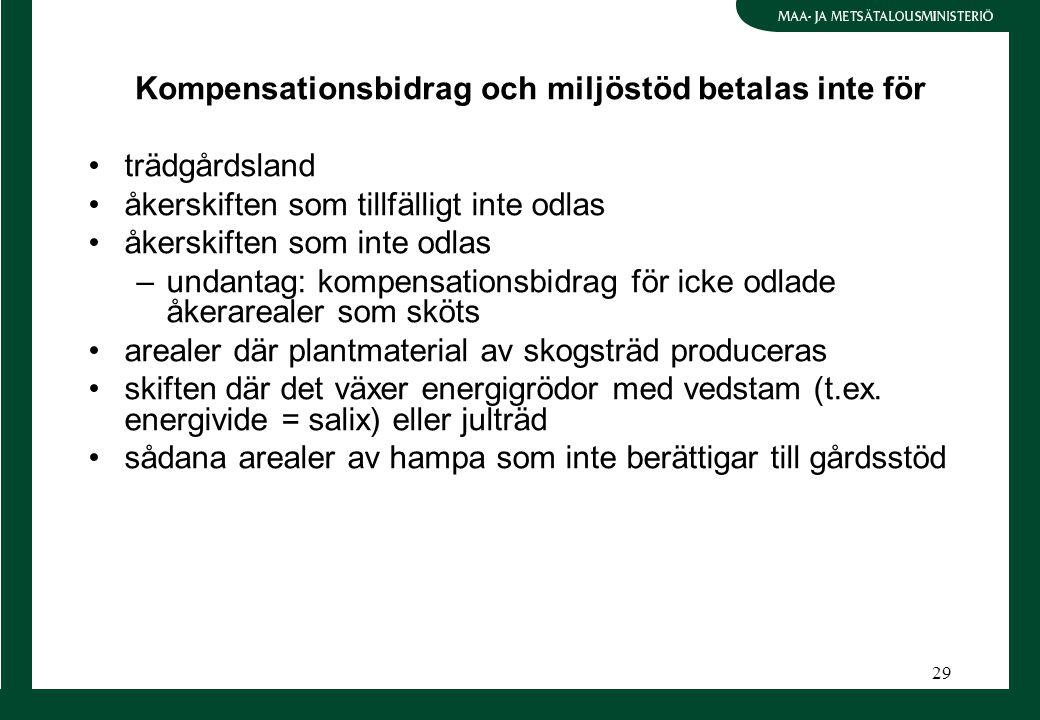 29 Kompensationsbidrag och miljöstöd betalas inte för trädgårdsland åkerskiften som tillfälligt inte odlas åkerskiften som inte odlas –undantag: kompensationsbidrag för icke odlade åkerarealer som sköts arealer där plantmaterial av skogsträd produceras skiften där det växer energigrödor med vedstam (t.ex.