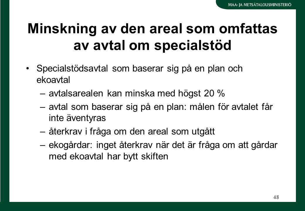 48 Minskning av den areal som omfattas av avtal om specialstöd Specialstödsavtal som baserar sig på en plan och ekoavtal –avtalsarealen kan minska med