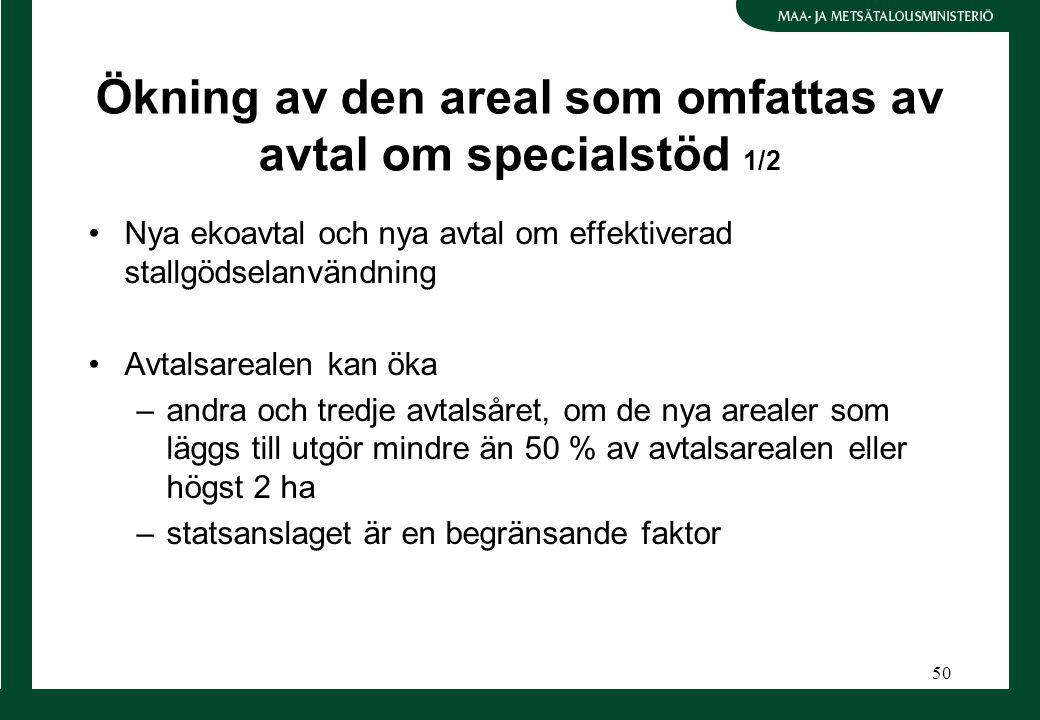 50 Ökning av den areal som omfattas av avtal om specialstöd 1/2 Nya ekoavtal och nya avtal om effektiverad stallgödselanvändning Avtalsarealen kan öka