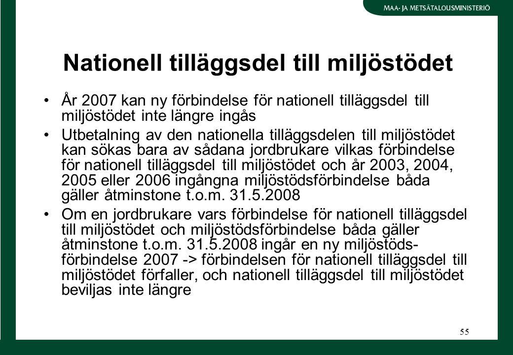 55 Nationell tilläggsdel till miljöstödet År 2007 kan ny förbindelse för nationell tilläggsdel till miljöstödet inte längre ingås Utbetalning av den nationella tilläggsdelen till miljöstödet kan sökas bara av sådana jordbrukare vilkas förbindelse för nationell tilläggsdel till miljöstödet och år 2003, 2004, 2005 eller 2006 ingångna miljöstödsförbindelse båda gäller åtminstone t.o.m.
