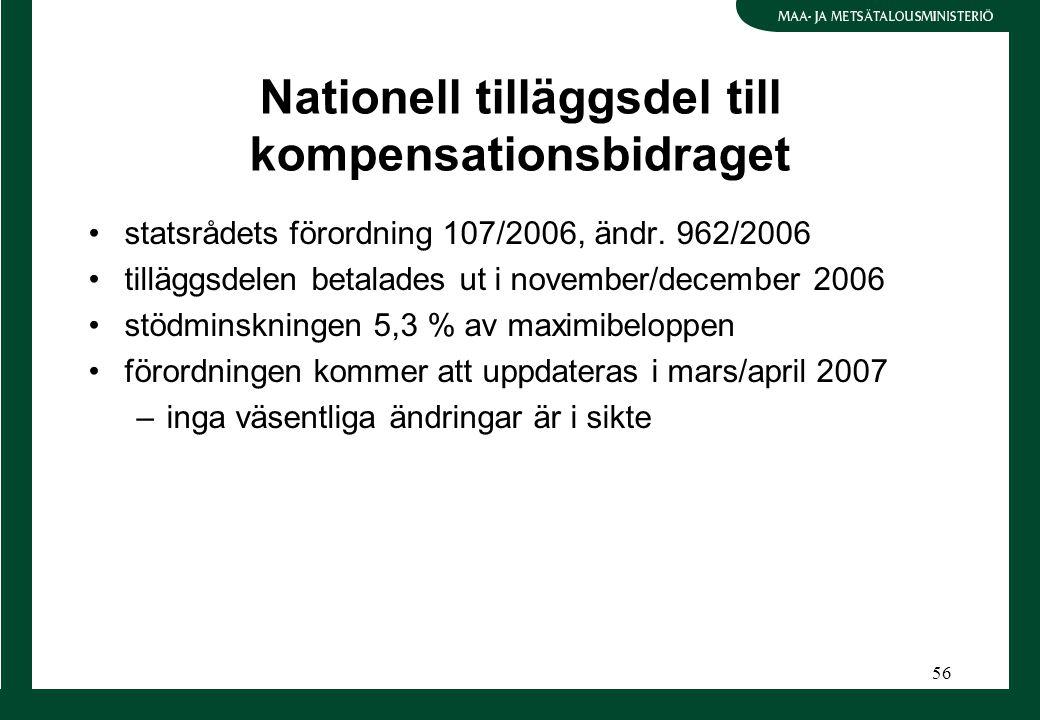 56 Nationell tilläggsdel till kompensationsbidraget statsrådets förordning 107/2006, ändr. 962/2006 tilläggsdelen betalades ut i november/december 200