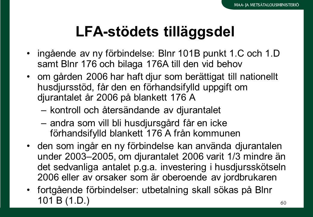60 LFA-stödets tilläggsdel ingående av ny förbindelse: Blnr 101B punkt 1.C och 1.D samt Blnr 176 och bilaga 176A till den vid behov om gården 2006 har