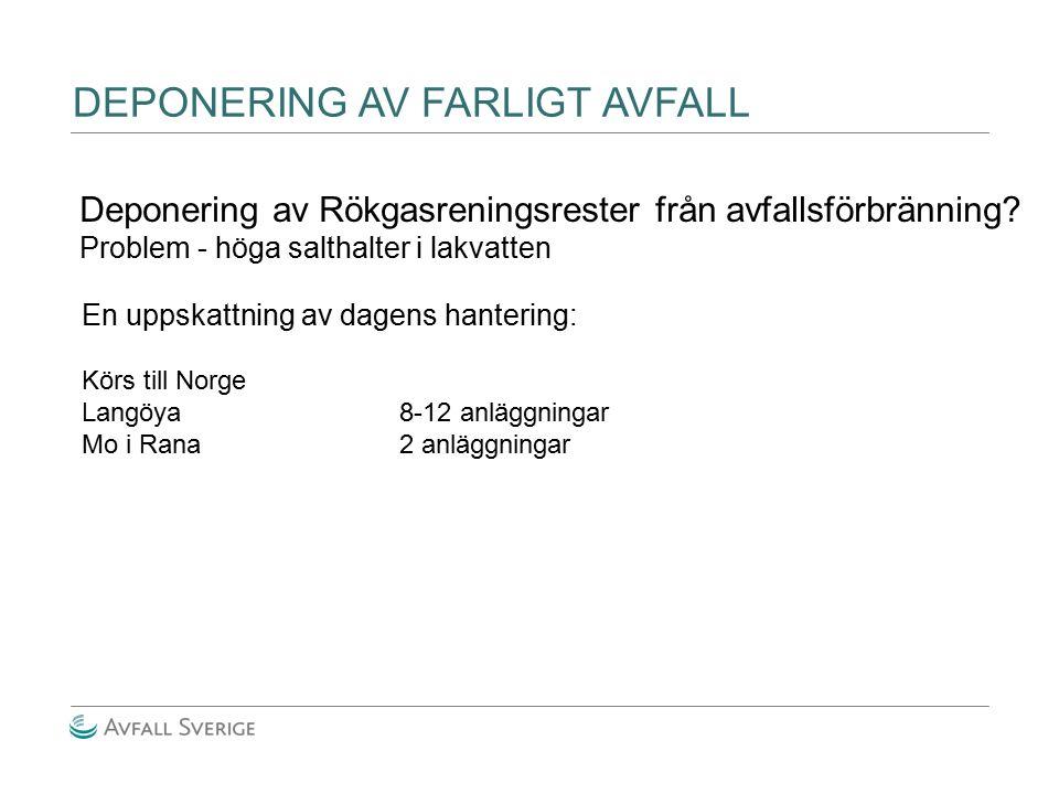 DEPONERING AV FARLIGT AVFALL Deponering av Rökgasreningsrester från avfallsförbränning? Problem - höga salthalter i lakvatten En uppskattning av dagen