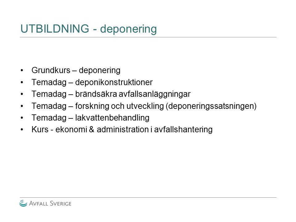 UTBILDNING - deponering Grundkurs – deponering Temadag – deponikonstruktioner Temadag – brändsäkra avfallsanläggningar Temadag – forskning och utveckl