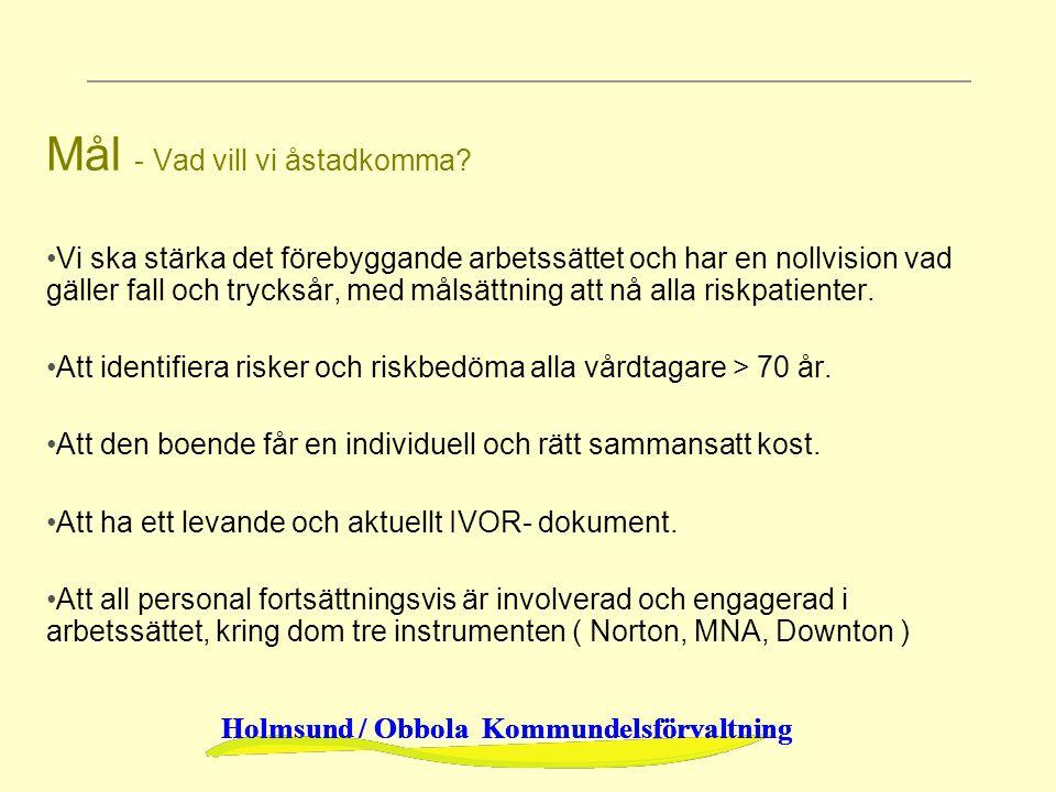 Holmsund / Obbola Kommundelsförvaltning Mål - Vad vill vi åstadkomma? Vi ska stärka det förebyggande arbetssättet och har en nollvision vad gäller fal