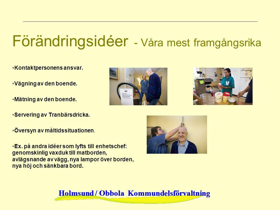 Holmsund / Obbola Kommundelsförvaltning Förändringsidéer - Våra mest framgångsrika Kontaktpersonens ansvar. Vägning av den boende. Mätning av den boen