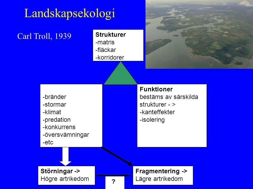 Landskapsekologi Carl Troll, 1939 Strukturer - matris - fläckar - korridorer Processer - bränder - stormar - klimat - predation - konkurrens - översvä