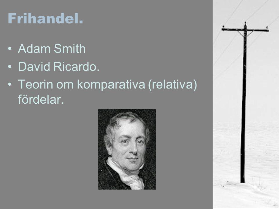 Frihandel. Adam Smith David Ricardo. Teorin om komparativa (relativa) fördelar.