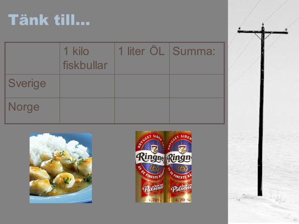 Tänk till… 1 kilo fiskbullar 1 liter ÖLSumma: Sverige Norge