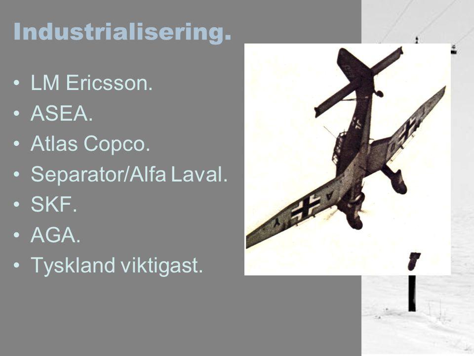 Industrialisering. LM Ericsson. ASEA. Atlas Copco. Separator/Alfa Laval. SKF. AGA. Tyskland viktigast.