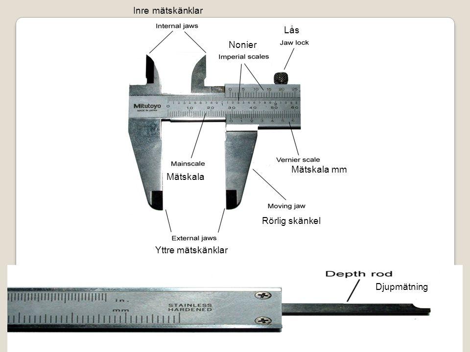 Djupmätning Inre mätskänklar Lås Mätskala mm Mätskala Yttre mätskänklar Nonier Rörlig skänkel