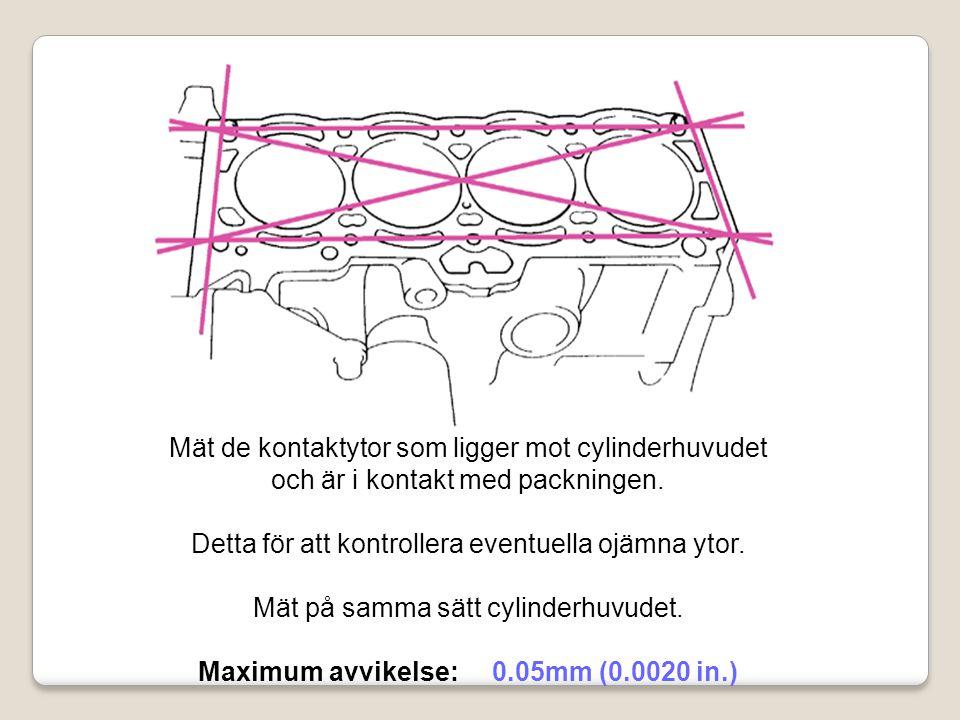 Mät de kontaktytor som ligger mot cylinderhuvudet och är i kontakt med packningen. Detta för att kontrollera eventuella ojämna ytor. Mät på samma sätt