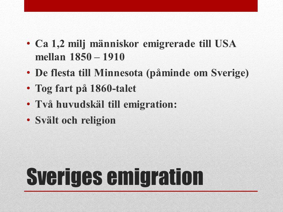 Sveriges emigration Ca 1,2 milj människor emigrerade till USA mellan 1850 – 1910 De flesta till Minnesota (påminde om Sverige) Tog fart på 1860-talet