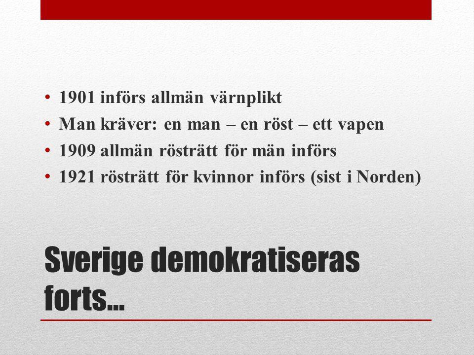 Sverige demokratiseras forts… 1901 införs allmän värnplikt Man kräver: en man – en röst – ett vapen 1909 allmän rösträtt för män införs 1921 rösträtt