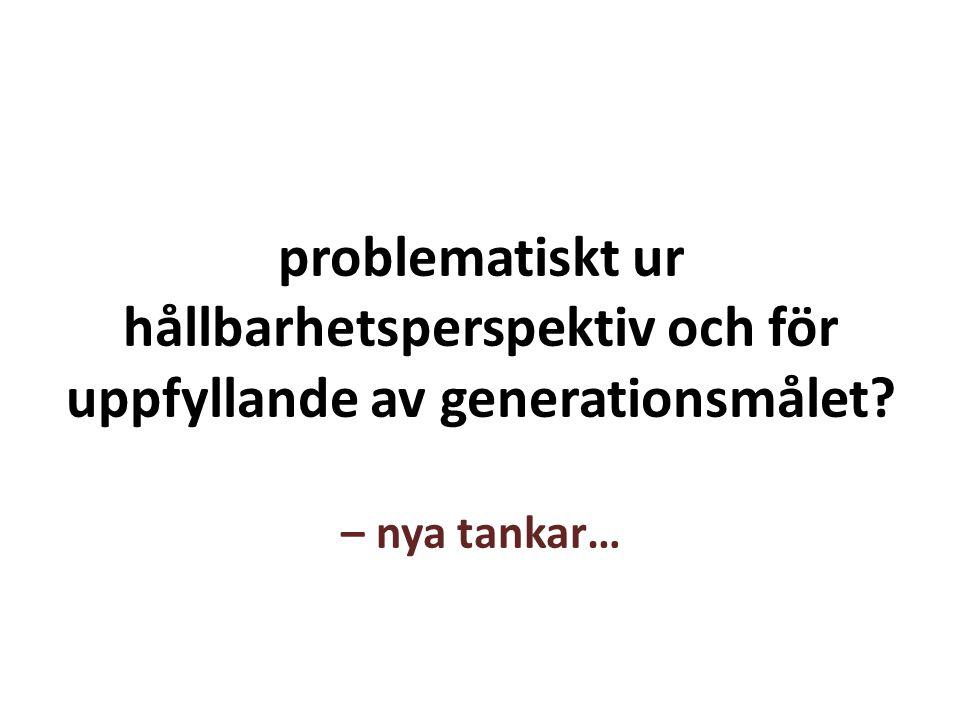 problematiskt ur hållbarhetsperspektiv och för uppfyllande av generationsmålet? – nya tankar…
