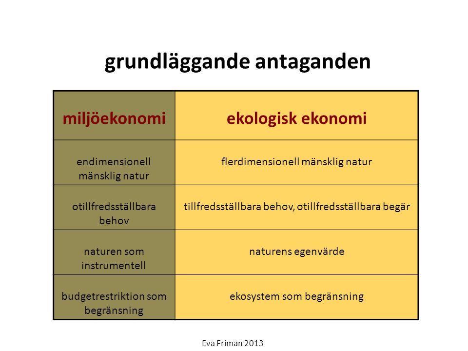 grundläggande antaganden miljöekonomiekologisk ekonomi endimensionell mänsklig natur flerdimensionell mänsklig natur otillfredsställbara behov tillfre