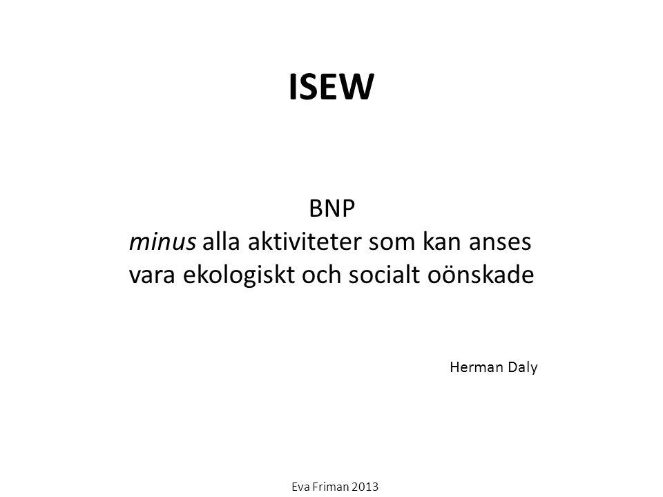 ISEW BNP minus alla aktiviteter som kan anses vara ekologiskt och socialt oönskade Herman Daly Eva Friman 2013