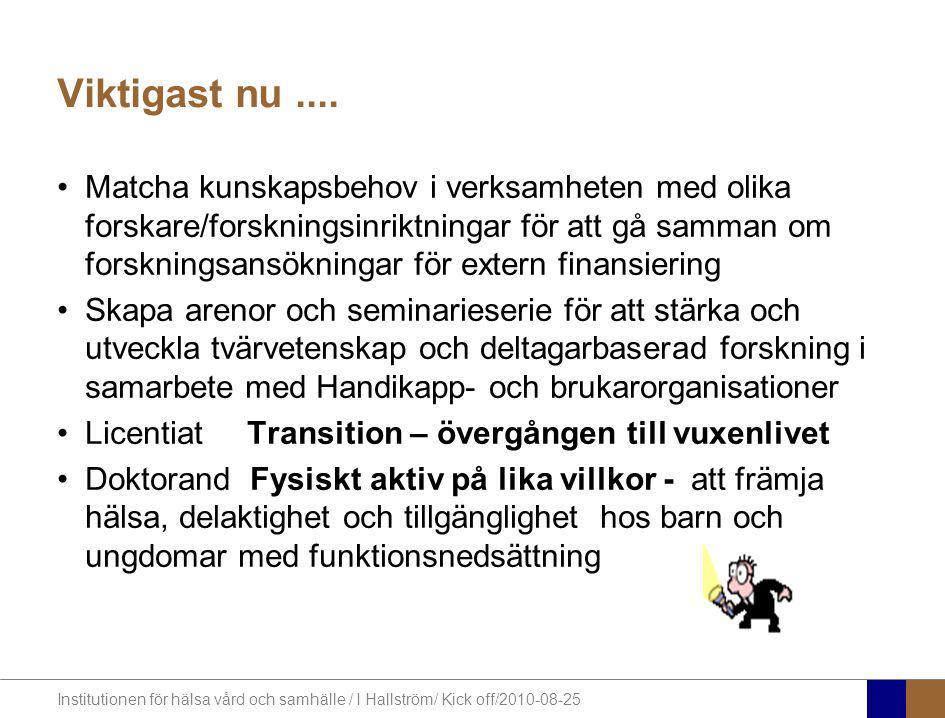 Institutionen för hälsa vård och samhälle / I Hallström/ Kick off/2010-08-25 Viktigast nu.... Matcha kunskapsbehov i verksamheten med olika forskare/f
