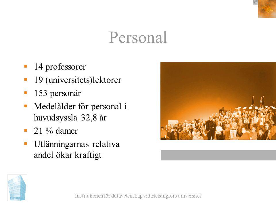 Institutionen för datavetenskap vid Helsingfors universitet Personal  14 professorer  19 (universitets)lektorer  153 personår  Medelålder för pers