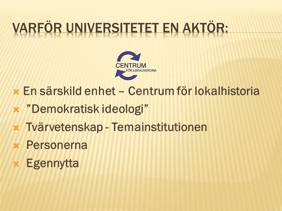 """ En särskild enhet – Centrum för lokalhistoria  """"Demokratisk ideologi""""  Tvärvetenskap - Temainstitutionen  Personerna  Egennytta"""