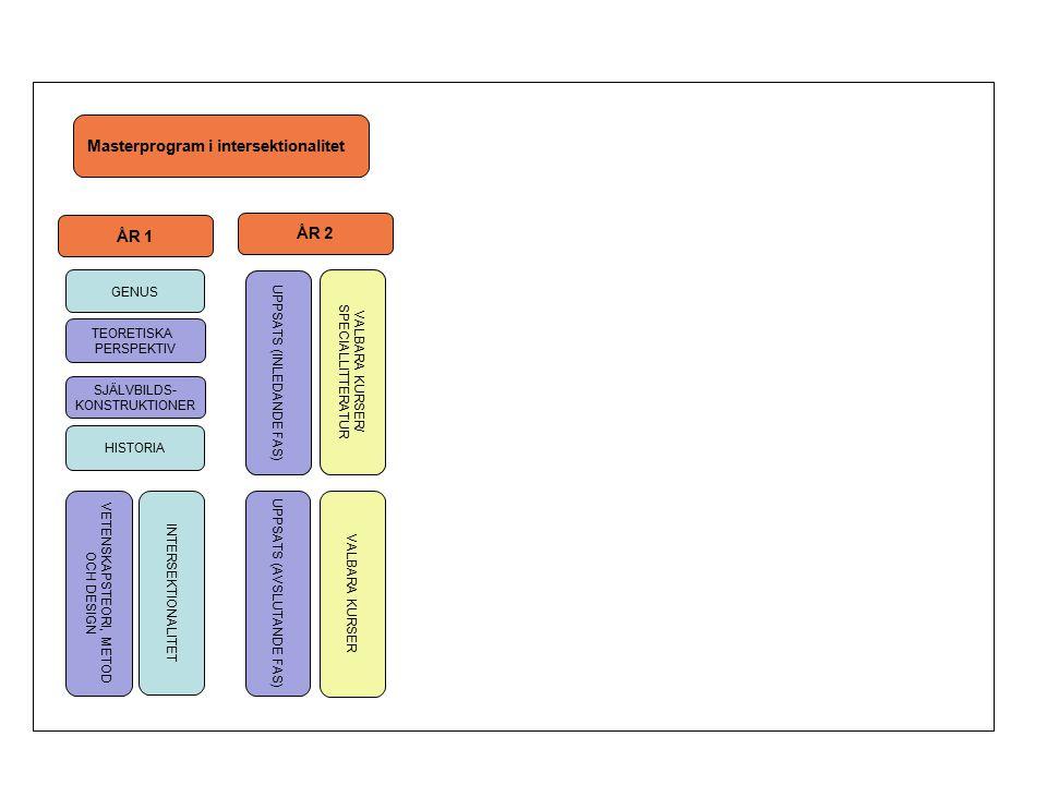 Masterprogram i intersektionalitet ÅR 1 ÅR 2 UPPSATS (INLEDANDE FAS) GENUS VALBARA KURSER/ SPECIALLITTERATUR SJÄLVBILDS- KONSTRUKTIONER TEORETISKA PERSPEKTIV HISTORIA UPPSATS (AVSLUTANDE FAS) INTERSEKTIONALITET VALBARA KURSER VETENSKAPSTEORI, METOD OCH DESIGN
