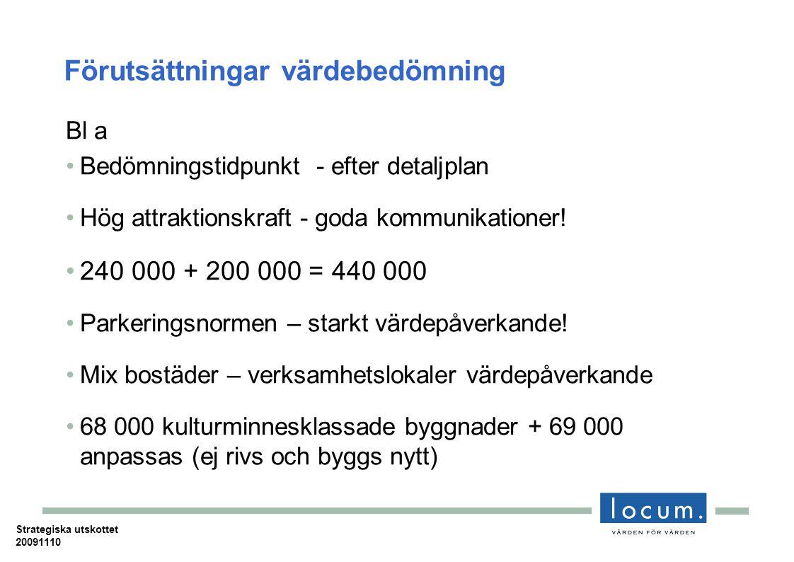 Förutsättningar värdebedömning Bl a Bedömningstidpunkt - efter detaljplan Hög attraktionskraft - goda kommunikationer.
