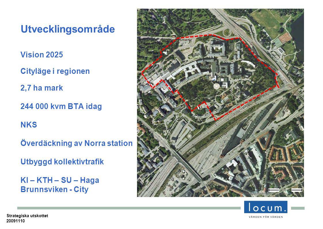 Strategiska utskottet 20091110 Utvecklingsområde Vision 2025 Cityläge i regionen 2,7 ha mark 244 000 kvm BTA idag NKS Överdäckning av Norra station Utbyggd kollektivtrafik KI – KTH – SU – Haga Brunnsviken - City