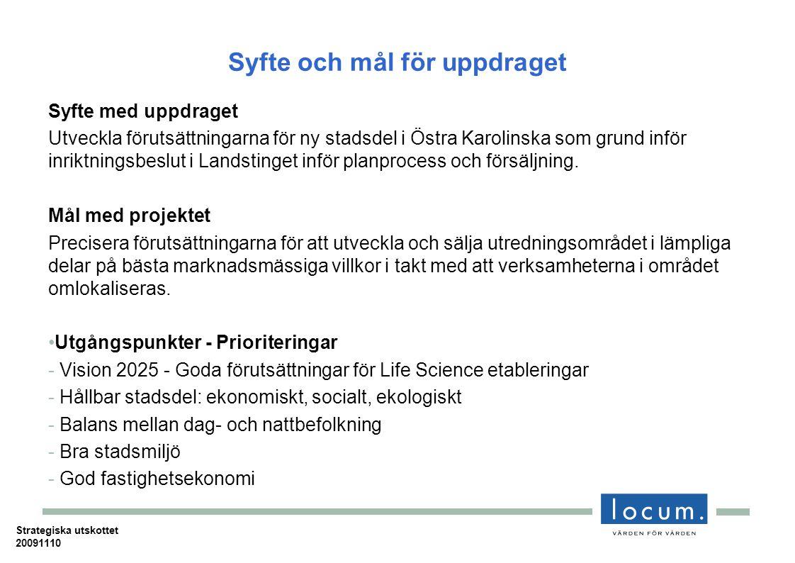 Syfte och mål för uppdraget Syfte med uppdraget Utveckla förutsättningarna för ny stadsdel i Östra Karolinska som grund inför inriktningsbeslut i Landstinget inför planprocess och försäljning.