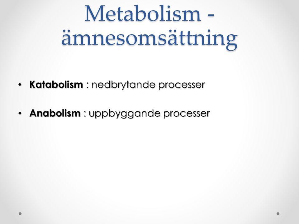 Metabolism - ämnesomsättning Katabolism : nedbrytande processer Katabolism : nedbrytande processer Anabolism : uppbyggande processer Anabolism : uppbyggande processer