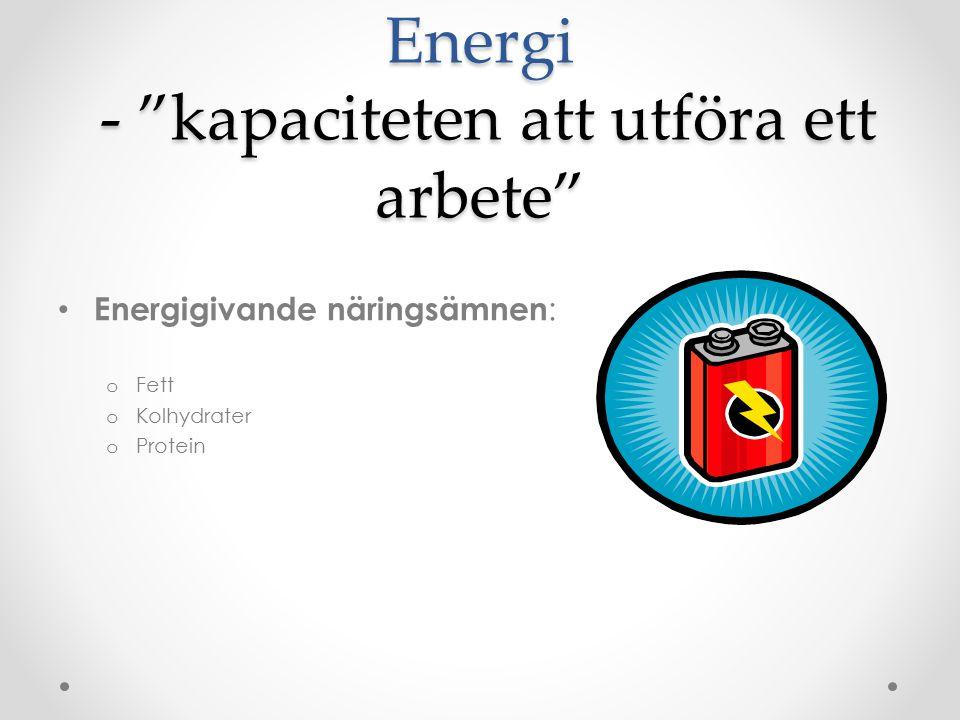 Energi - kapaciteten att utföra ett arbete Energigivande näringsämnen : o Fett o Kolhydrater o Protein