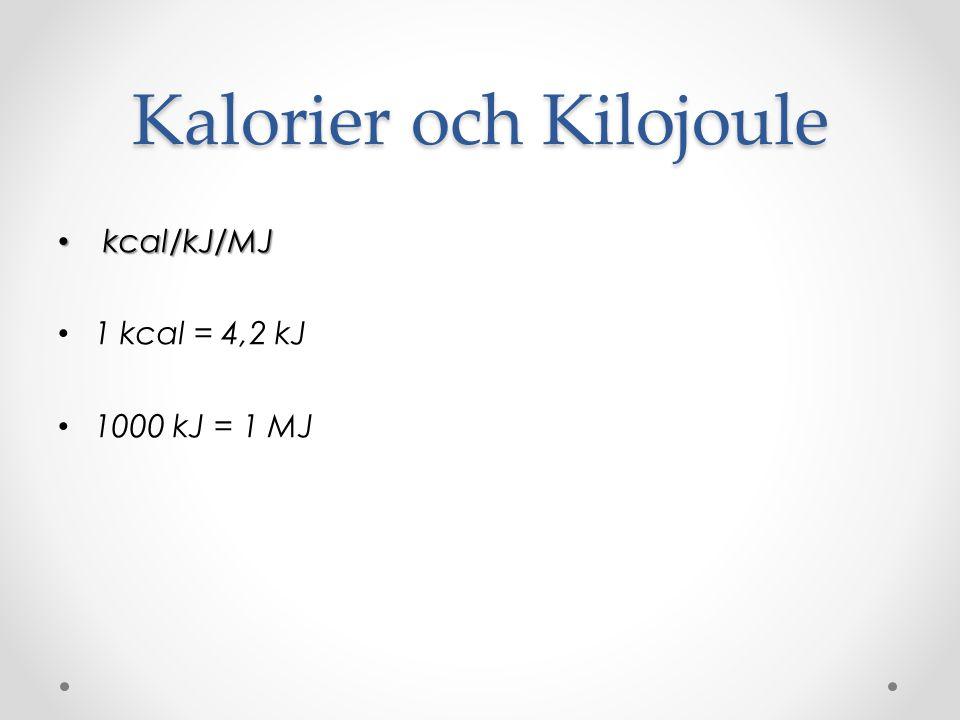 Kalorier och Kilojoule kcal/kJ/MJ kcal/kJ/MJ 1 kcal = 4,2 kJ 1000 kJ = 1 MJ