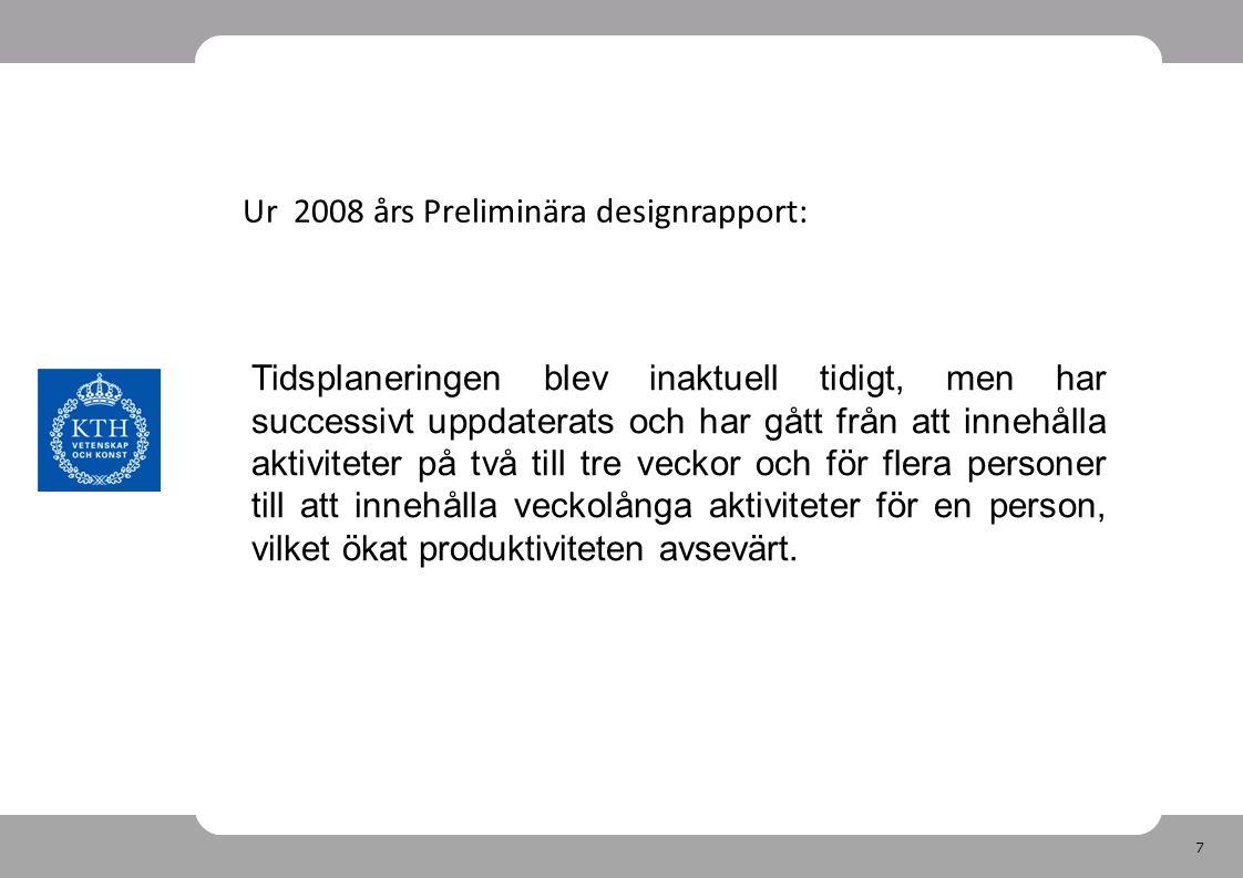 7 Ur 2008 års Preliminära designrapport: Tidsplaneringen blev inaktuell tidigt, men har successivt uppdaterats och har gått från att innehålla aktiviteter på två till tre veckor och för flera personer till att innehålla veckolånga aktiviteter för en person, vilket ökat produktiviteten avsevärt.