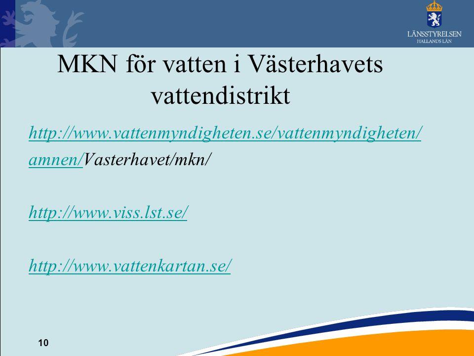 10 MKN för vatten i Västerhavets vattendistrikt http://www.vattenmyndigheten.se/vattenmyndigheten/ amnen/amnen/Vasterhavet/mkn/ http://www.viss.lst.se/ http://www.vattenkartan.se/
