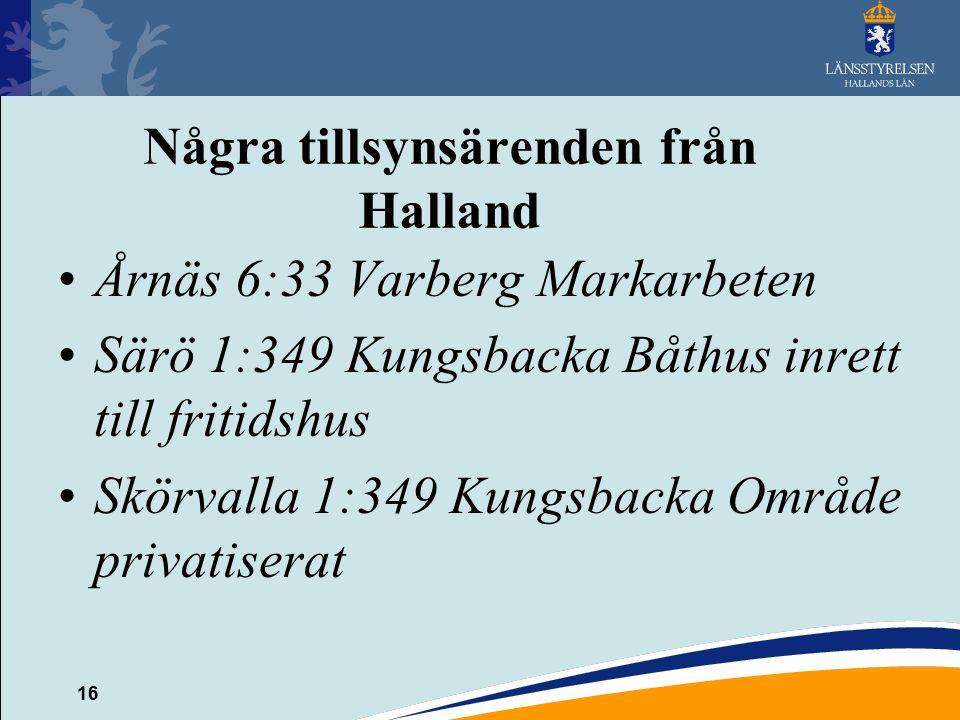 16 Några tillsynsärenden från Halland Årnäs 6:33 Varberg Markarbeten Särö 1:349 Kungsbacka Båthus inrett till fritidshus Skörvalla 1:349 Kungsbacka Område privatiserat