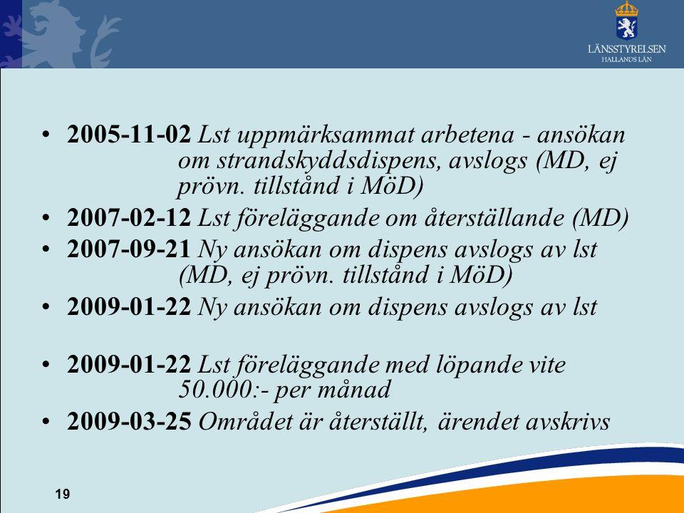 19 2005-11-02 Lst uppmärksammat arbetena - ansökan om strandskyddsdispens, avslogs (MD, ej prövn. tillstånd i MöD) 2007-02-12 Lst föreläggande om åter