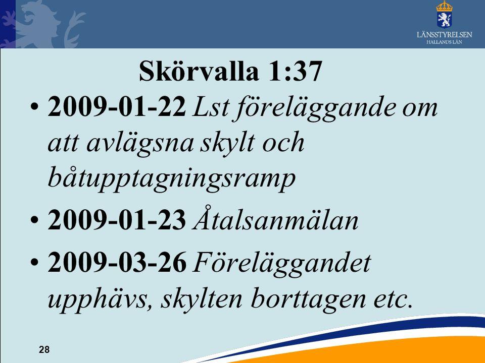 28 Skörvalla 1:37 2009-01-22 Lst föreläggande om att avlägsna skylt och båtupptagningsramp 2009-01-23 Åtalsanmälan 2009-03-26 Föreläggandet upphävs, skylten borttagen etc.