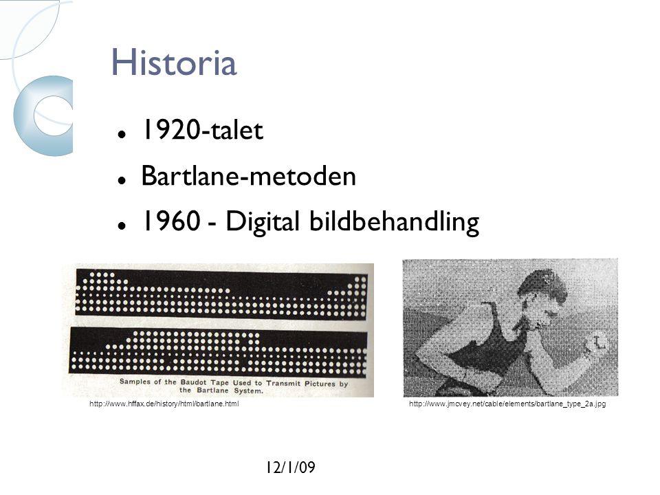 12/1/09 Historia 1920-talet Bartlane-metoden 1960 - Digital bildbehandling http://www.hffax.de/history/html/bartlane.htmlhttp://www.jmcvey.net/cable/elements/bartlane_type_2a.jpg