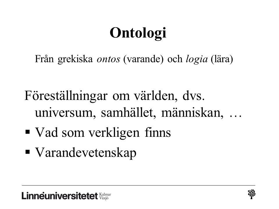 Från grekiska ontos (varande) och logia (lära) Föreställningar om världen, dvs.