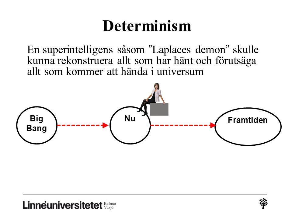 Determinism En superintelligens såsom Laplaces demon skulle kunna rekonstruera allt som har hänt och förutsäga allt som kommer att hända i universum Big Bang Nu Framtiden