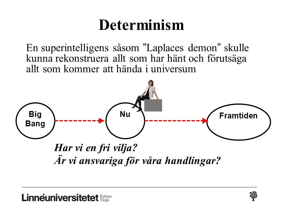Determinism En superintelligens såsom Laplaces demon skulle kunna rekonstruera allt som har hänt och förutsäga allt som kommer att hända i universum Har vi en fri vilja.