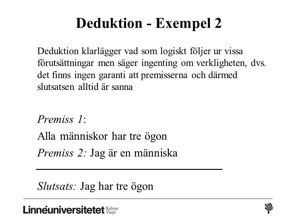 Deduktion - Exempel 2 Deduktion klarlägger vad som logiskt följer ur vissa förutsättningar men säger ingenting om verkligheten, dvs.