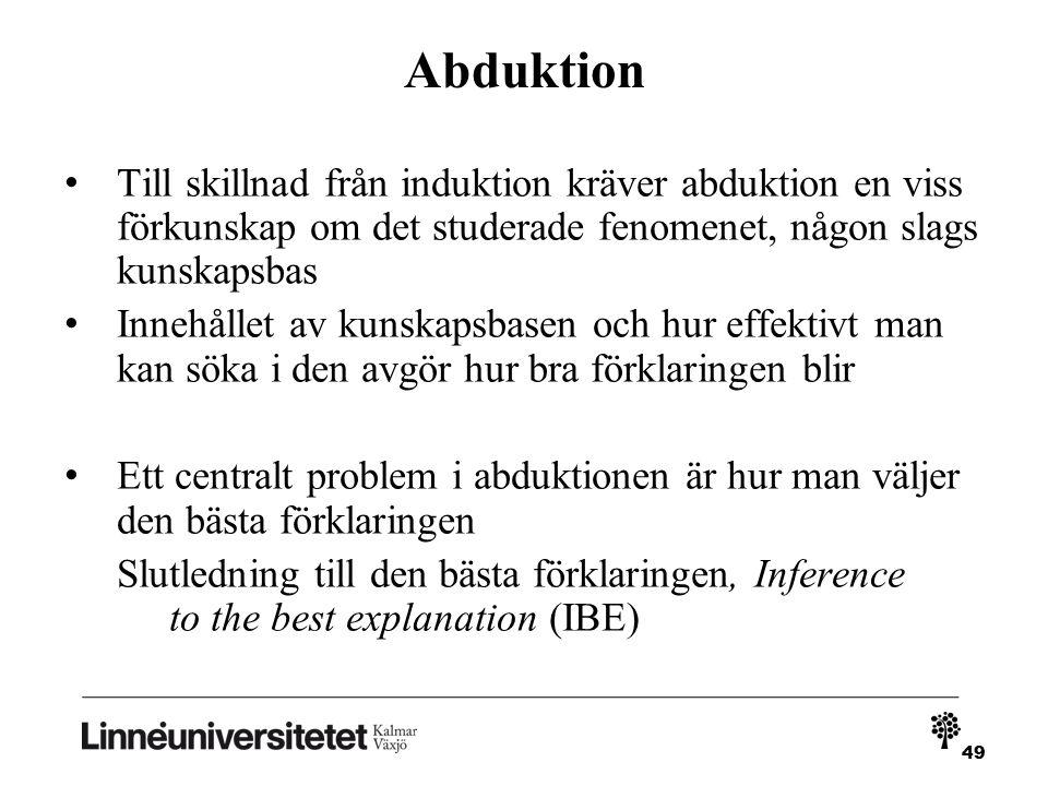 49 Abduktion Till skillnad från induktion kräver abduktion en viss förkunskap om det studerade fenomenet, någon slags kunskapsbas Innehållet av kunskapsbasen och hur effektivt man kan söka i den avgör hur bra förklaringen blir Ett centralt problem i abduktionen är hur man väljer den bästa förklaringen Slutledning till den bästa förklaringen, Inference to the best explanation (IBE)