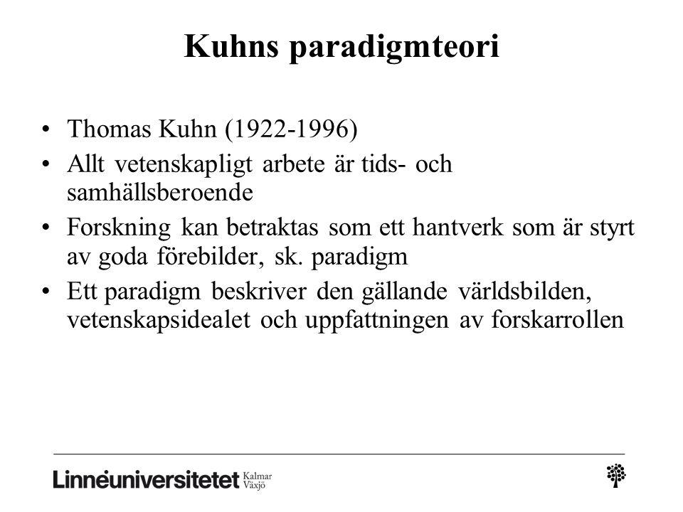 Kuhns paradigmteori Thomas Kuhn (1922-1996) Allt vetenskapligt arbete är tids- och samhällsberoende Forskning kan betraktas som ett hantverk som är styrt av goda förebilder, sk.