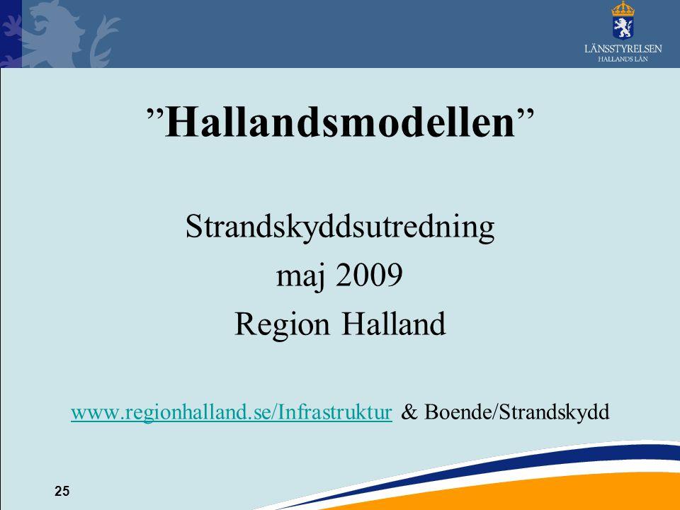 """25 """" Hallandsmodellen """" Strandskyddsutredning maj 2009 Region Halland www.regionhalland.se/Infrastrukturwww.regionhalland.se/Infrastruktur & Boende/St"""
