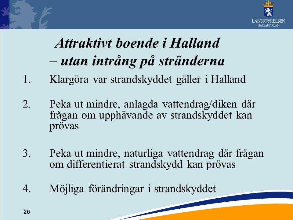 26 Attraktivt boende i Halland – utan intrång på stränderna 1.Klargöra var strandskyddet gäller i Halland 2.Peka ut mindre, anlagda vattendrag/diken d